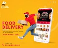 Food Delivery Service Ad Retângulo grande template