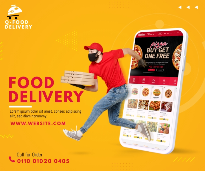 Food Delivery Service Ad 巨型广告 template
