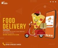 Food Delivery Service Ad Średni prostokąt template