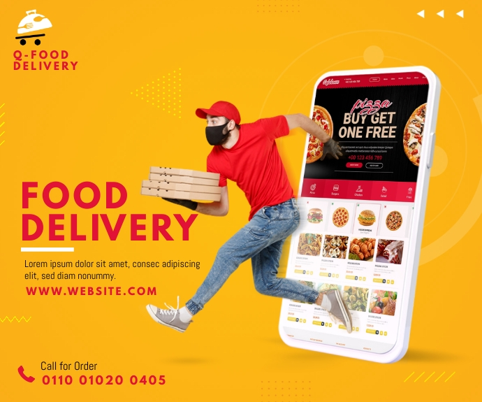 Food Delivery Service Ad 中型广告 template
