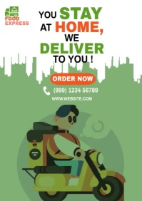 Food delivery service flyer A4 template