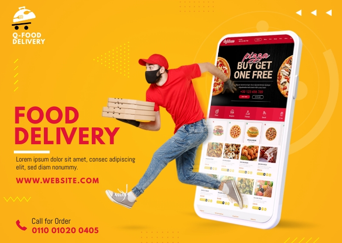 Food Delivery Service Postcard template