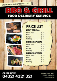 Food Delivery Service Price List Flyer Poster