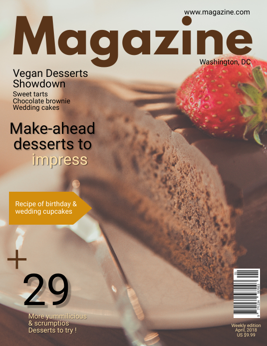 Food Dessert Magazine Cover Template