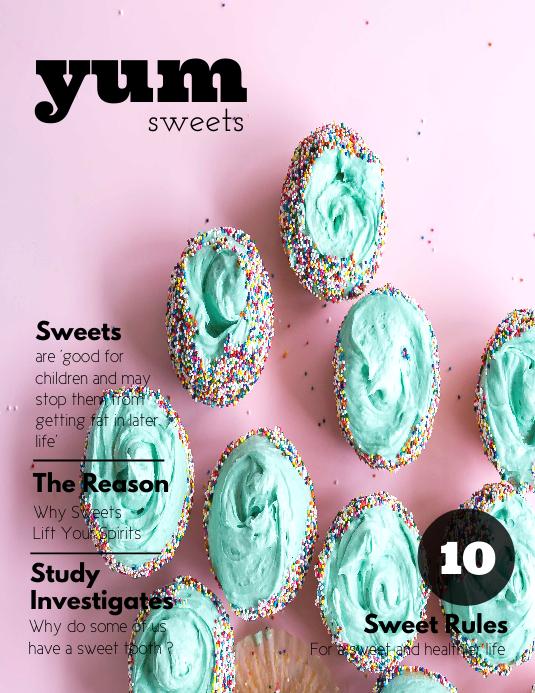 Food Dessert Magazine Cover Template Pamflet (Letter AS)