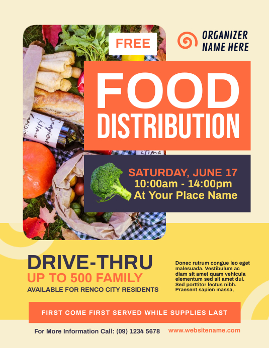 Food Distribution Flyer Pamflet (Letter AS) template