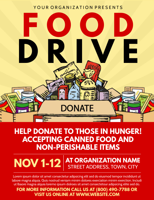 Food Drive Pamflet (Letter AS) template