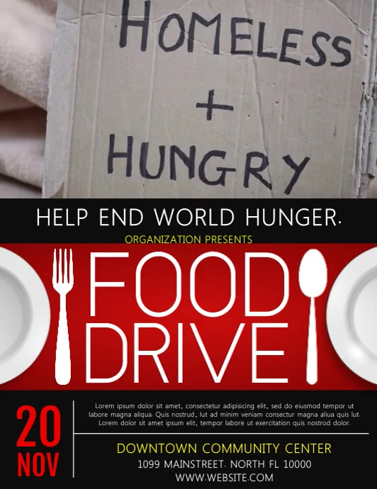 Food Drive Ulotka (US Letter) template