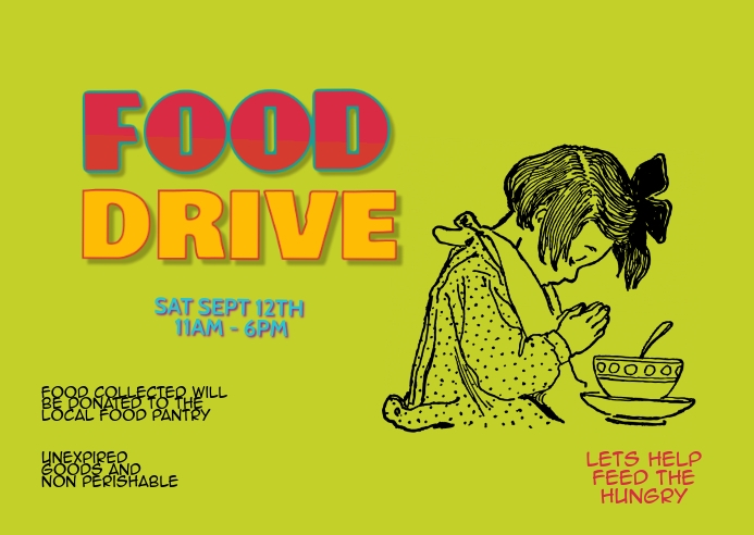 Food Drive Event Fundraiser postcard