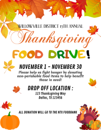 Food Drive Flyer Invitation, Thanksgiving Foo Pamflet (Letter AS) template