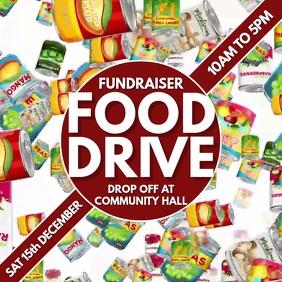 Food Drive Fundraiser Video Template Cuadrado (1:1)