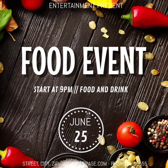 Food Event party video flyer template