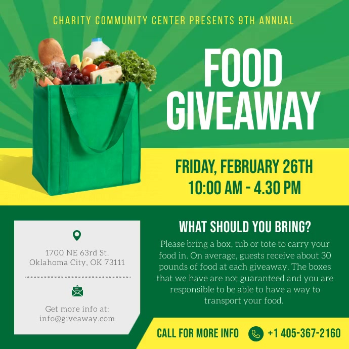 Food Giveaway Instagram post Square (1:1) template
