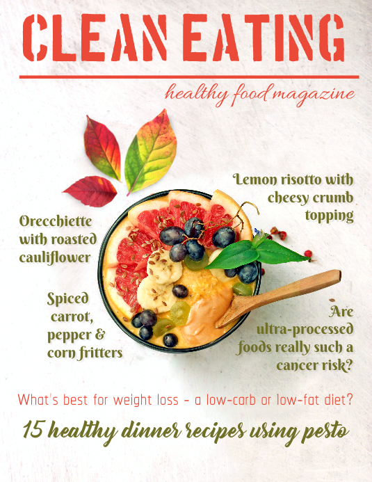 Food Health Magazine Cover Template Folheto (US Letter)