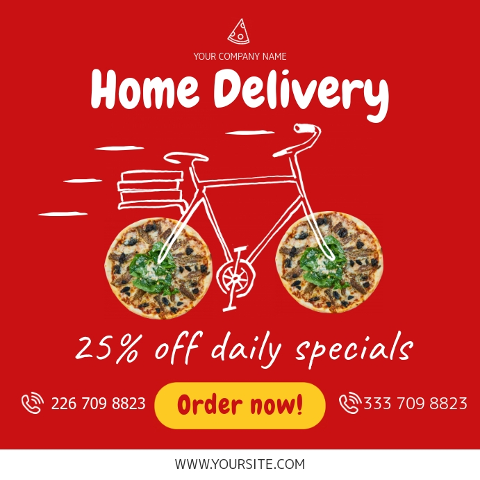 Food Home Delivery Online Ad Template | PosterMyWall