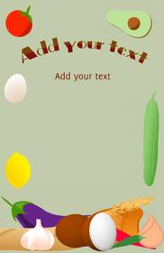 food ingredients - lemon coconut avocado bread egg aubergine tomato tabloid template