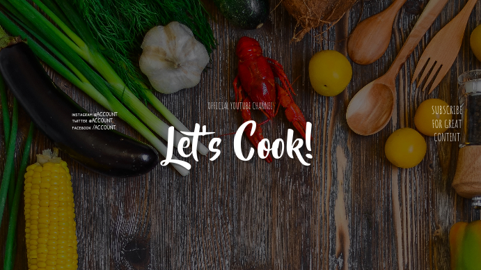 Food Let's Cook Youtube Channel Art Banner Template