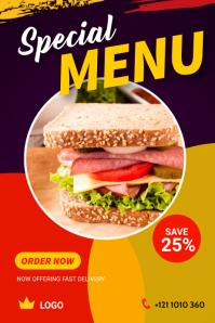 Food Menu Banner Design 横幅 4' × 6' template