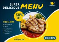 Food Menu Banner Template Postcard