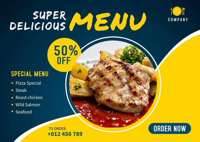 Food Menu Banner Template Kartu Pos