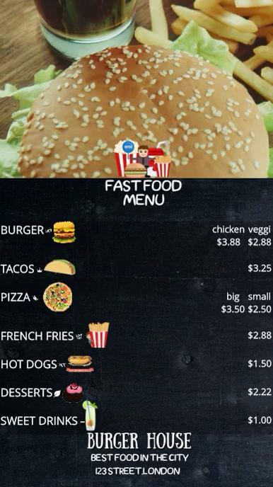FOOD MENU Цифровой дисплей (9 : 16) template