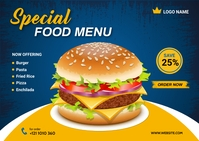 Food Menu Design Template Kartu Pos