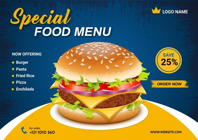 Food Menu Design Template Postcard