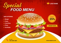 Food Menu Postcard Template
