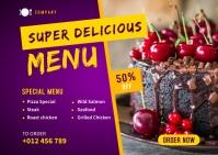 Food Menu Social Media Post Template Postcard