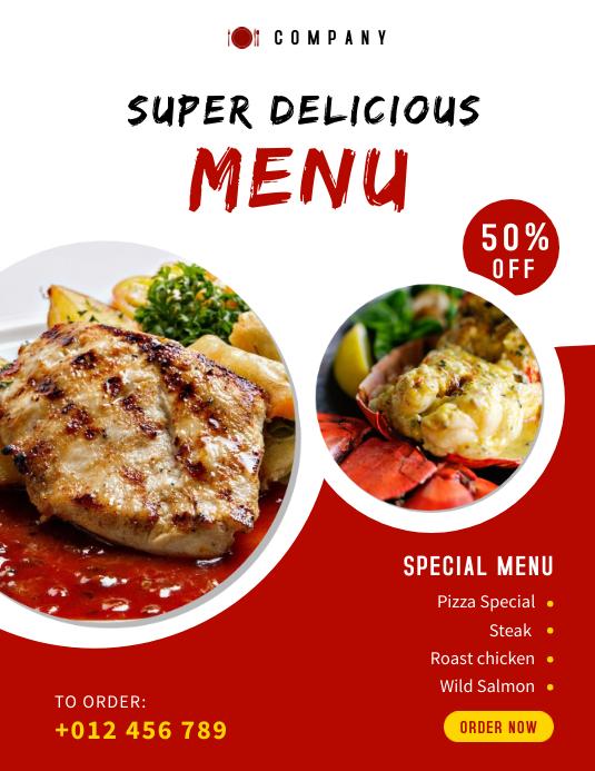 Food Menu Social Media Template Pamflet (VSA Brief)