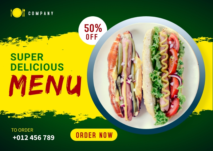 Food Menu Social Media Template Kartu Pos