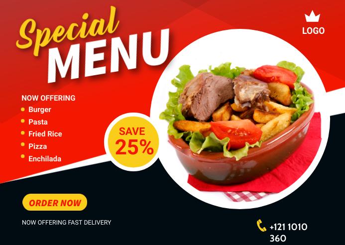 Food Offer Banner Design Template Kartu Pos