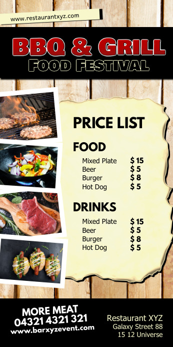 Food Offer Price List Special Roll up Banner