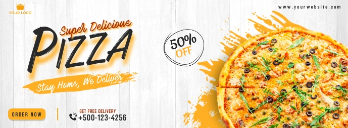 Food pizza facebook cover banner template