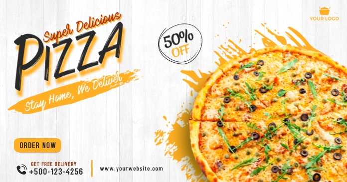 Food pizza facebook shared post template