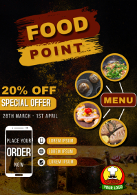 Food point special discount deal poster flyer A5 template