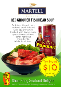 food poster red grouper fish head soup with martell