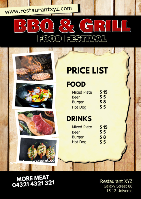 Food Price List Bar Restaurant Flyer Snack Ad
