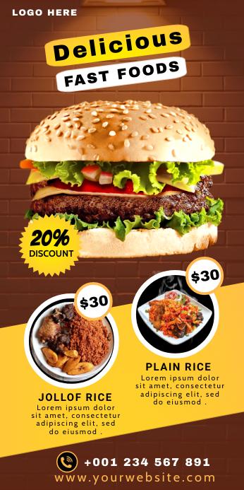 Food Restaurant Roll up banner Premium Templa ป้ายโรลอัป 3' × 6' template