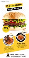 Food Restaurant Roll Up banner Template Роллерный баннер 3' × 6'
