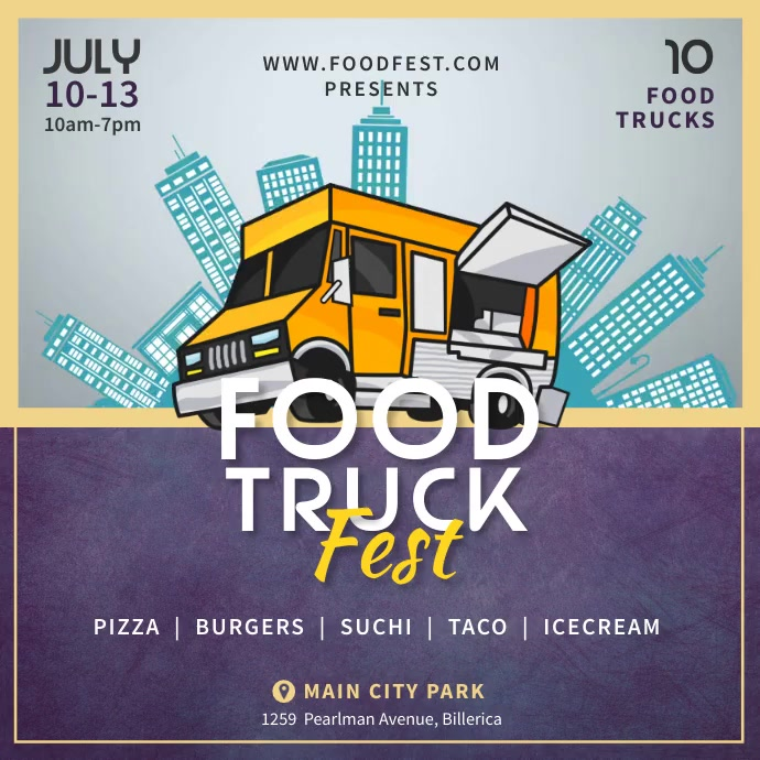 Food Truck City Fest Instagram Video Template Persegi (1:1)
