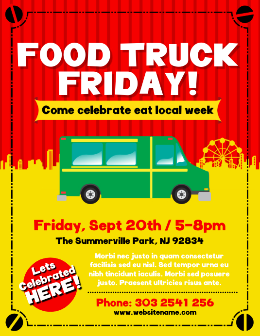 Food Truck Festival Flyer Template PosterMyWall - Food truck design template