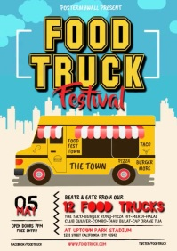 Food Truck Flyer Design A4 template