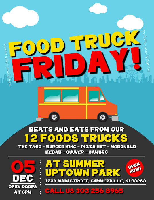 Food Truck Friday Flyer Pamflet (Letter AS) template