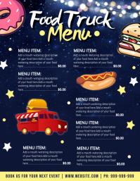 Food Truck Menu Poster Ulotka (US Letter) template