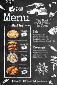 Food truck menu poster flyer template
