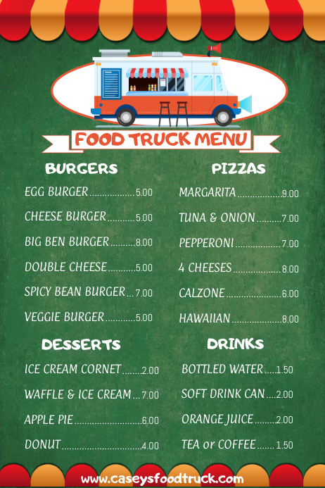 High School English Classroom Design ~ Food truck menu template postermywall