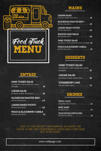 Food Truck Menu Template Póster