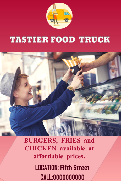 Food truck poster template