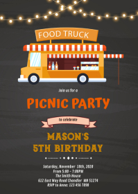 Foodtruck Birthday Invitation A6 template